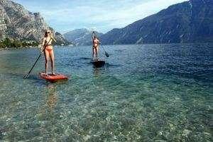 Paddle boarding on lake.